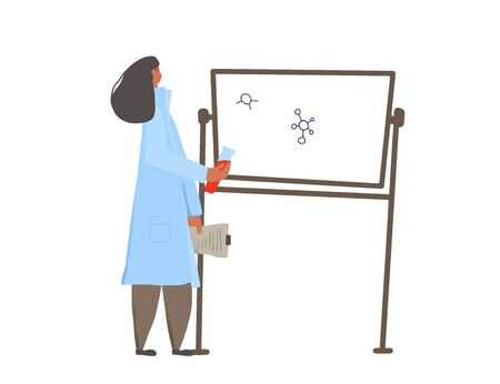 Young woman character standing at board with flake and documents in her hands. Female scientist in lab. Young doctor standing and giving report. Vector flat illustration.