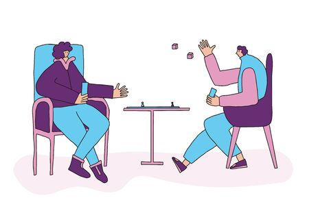 Board games concept. Adult persons sitting in the chair and playing table game. Friends wearing in loose clothes spending time together at home. Couple enjoying their free time. Vector illustration.