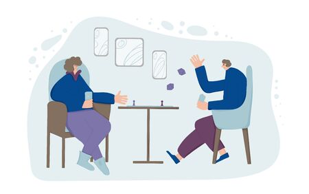 Board games concept. Adult persons sitting and playing table game. Friends wearing in loose clothes spending time together at home. Couple enjoying their free time. Vector flat illustration.