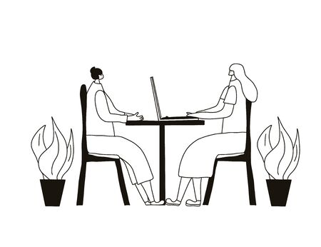 Interview concept. Mature and young  female persons sitting in the chair and talking about vacancy. Attractive people having a hr conversation. Vector illustration.