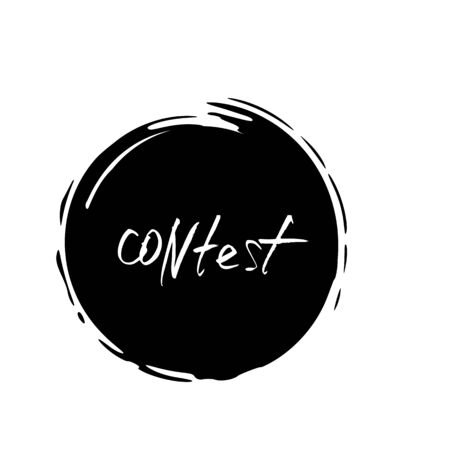 Contest round emblem. Hand drawn text for competition announce isolated on white background. Quiz invitation flyer logo. Element for social media. Vector illustration.