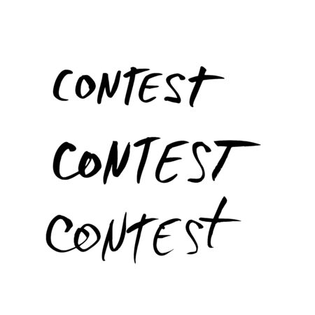 Contest words set. Hand drawn ink text for competition announce isolated on white background. Element for social media. Vector illustration.