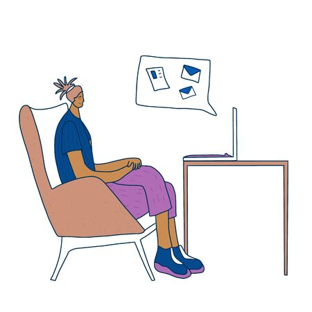 Middle-aged person sitting at laptop and working. Female  freelancers doing their job in her room. Woman browsing on internet and getting a messagees and mails. Vector  illustration.