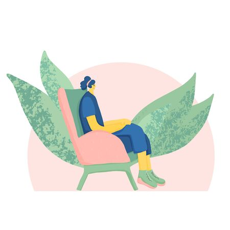 Meditation. Young woman sitting in comfy chair and have a relaxation. Female person wearing in casual clothes spending time alone in peace and quiet. Vector flat illustration.