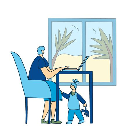 Digital nomad and freelance. Young mom sitting and working on computer at hotel room near window with her kid.  Woman with her daughter. Mother and child . Vector illustration.