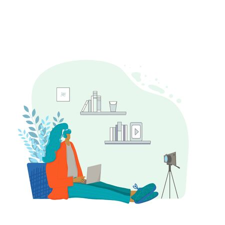 Female blogger sitting on the floor at laptop and recording her blog. Young influencer talking with her followers against camera on tripod. Vector flat illustration.