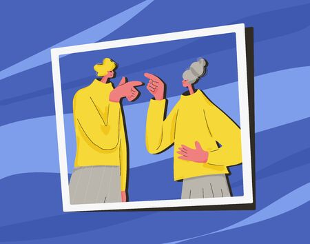 Conflict. Pair during argument. Quarrel concept. Bad relationship between friends or family members. Two mates pointing fingers at each other. Vector flat color illustration. Illustration