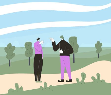 Conflict. Pair of people during argument at the park. Quarrel concept. Bad relationship between friends or family members. Vector flat color illustration. Illustration