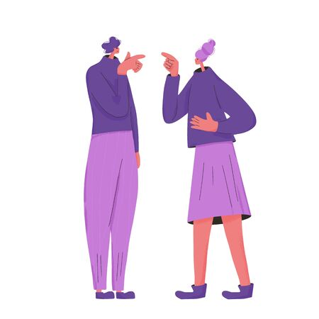 Family conflict. Pair of young people during argument. Quarrel between wife and husband. Merried couple blame and pointing fingers each other. Vector flat color illustration. Illusztráció