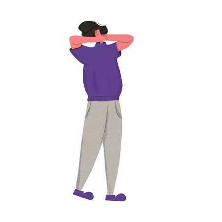 Scared woman putting her hands over her ears.  Person with some mental disorder. Vector flat color illustration. Ilustração