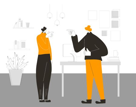 Work conflict. Pair of coworkers during dispute. Quarrel concept. Bad relationship between teammates or collegues. Vector flat color illustration.