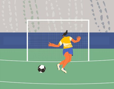 Young female soccer player wearing in uniform. Woman football athlette dressed in sportwear and boots with sport ball. Vector flat character. Vektorgrafik