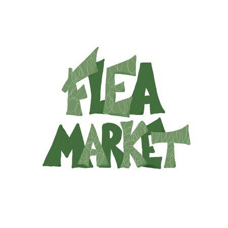 Flea market emblem. Stylized text isolated on white background. Vector illustration.