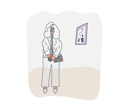 Girl standing at the art gallery. Exhibition female visitor. Vector illustartion. Ilustrace