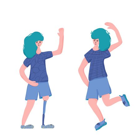 Two twins characters dressed in casual clothes standing together. Girls isolated on white background. Sisters dancing together. Young woman with prosthetic leg and her sis. Vector flat illustration. Ilustrace