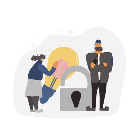 Security guard standing with arms crossed. Man wearing in a guards uniform save an intellectual property of female creator. Vector illustration.