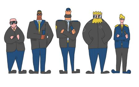 Security guards  group standing with arms crossed. Men and woman wearing in a guards uniform and sun glasses isolated on white background. Vector illustration.