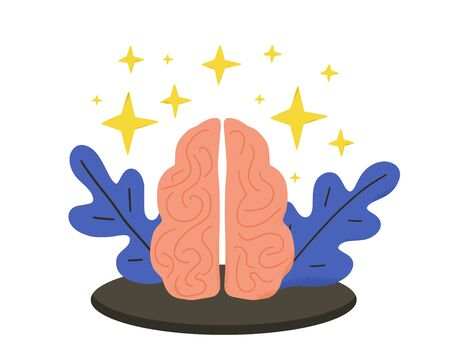 Human brain with decoration emblem isolated on white background. Mental health. Psychological issues. Thinking and brainstorming symbol. Vector color flat  illustration.