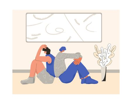 Young couple after quarrel sitting back to back on the floor of their room. Communication problems. Two character with bad mood. Bad relationship concept. Vector flat cartoon illustration.