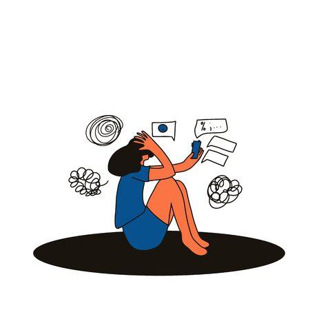 Digitale Informationsflut. Junge weibliche Person, die mit Handy auf dem Boden sitzt und an Cybermobbing leidet. Teenager-Mädchen, die Textnachrichten liest und zu viele Social-Media-Informationen erhält.