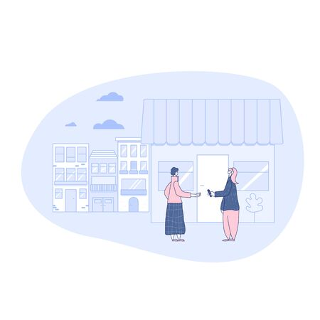 Local retail business concept. Small street shop. Female person dressed in casual clothes giving money other lady. Flea market. Vector illustration.