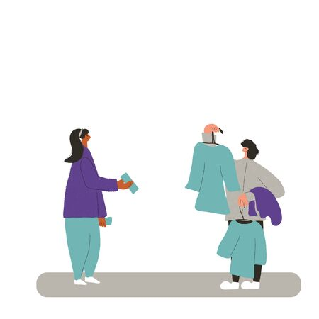 Clothes seller scene. Person showing vintage dresses to young fashion client. Second hand shop. Resale. Vector flat cartoon illustration.