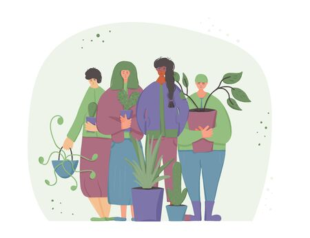 Plant lovers club members. Smiling persons wearing in cozy clothes holding in hands indoor flower. Plants therapy concept. Group of friends standing together. Vector flat color illustration. Stock Illustratie