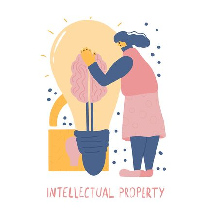 Stop plagiarism concept. Pretty woman trying to protect her idea metaphor isolated on white background. Intellectual property scene. Person hugging a huge bulb with brain. Vector flat illustration