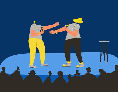 Standup show. Duet comic performing on a stage. Comedians.  Vector flat characters illustration.