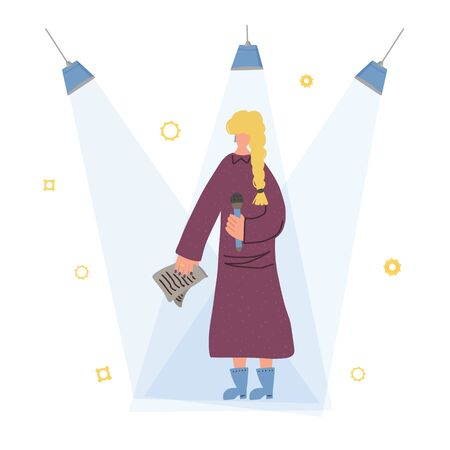 Female character standing with microphone. Orator speaking. Girl with mike in full length. Vector flat illustartion.