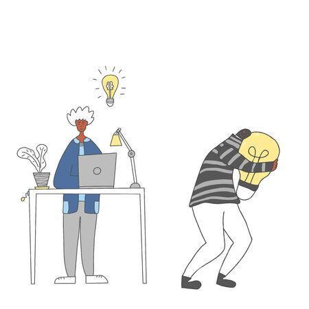Plagiarism concept, infringement of copyright. Young man creating an idea and bulgar stealing it metaphor. Thief in the hood and mask running away with a bulb in his hands. Vector illustration.