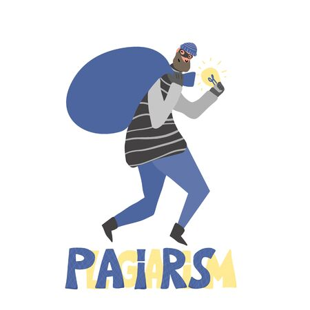 Plagiarism concept, infringement of copyright. Male person with bag stealing an idea metaphor. Thief in a mask running away with a light bulb in his hands. Intellectual property. Vector illustration.