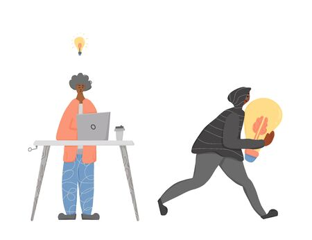 Plagiarism concept, infringement of copyright. Young man creating an idea and pirate stealing it metaphor. Thief  in the hood and mask running away with a  bulb in his hands. Vector flat illustration.  イラスト・ベクター素材