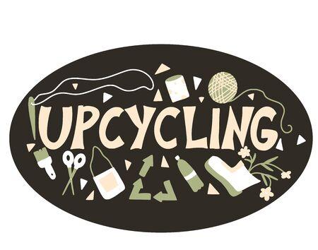 Upcycling texte dessiné à la main. Emblème de lettrage. Réutiliser et recycler à la main. Mot de vecteur isolé sur fond blanc.