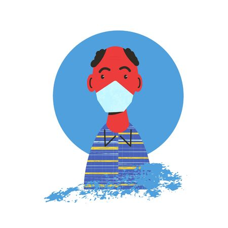 Senior male character protectind from coronavirus or flu. Old man in white medical face mask icon. Patient in prevention mask to prevent the spread of the coronavirus. 2019-nCoV quarantine. Vector flat illustration.