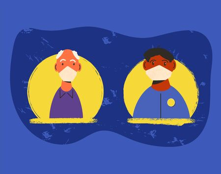 Coronavirus quarantine. Mature and young men in white medical face mask icons. Family members in prevention masks have a distant  tallk about medical test. 2019-nCov pandemic. Vector flat illustration. Ilustrace