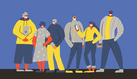 Coronavirus. Young men and women in white face mask. Teenage characters group in prevention masks. Crowd of people protecting from virus infection. Quarantine. Pandemic of corona virus. Vector persons