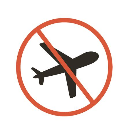 Stop flights. Not travel while sick. Vector sign illustration. Ilustrace