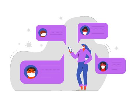 Girl in white medical face mask standing with her phone and reading messages. Friends distant talk. Incubation period to prevent the spread of the coronavirus. Vector flat illustration.