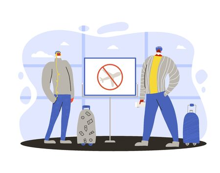 Cancel flight to prevent the spread of the coronavirus. sign. Coronavirus pandemic notice about not to travel. Boys in white medical face mask standing at airport. Two friends protecting from virus infection. Quarantine. Vector flat illustration.