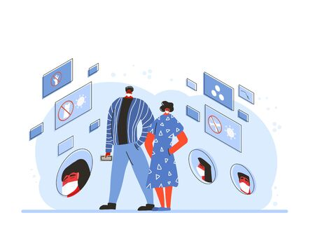 Coronavirus pandemic notice. Young man and woman in white medical face mask standing surrounded prevention symbols. Friends protecting from virus infection. Quarantine. Vector flat illustration.
