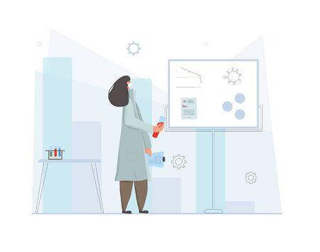 Coronavirus vaccine reaserch concept. Female doctor in white medical face mask. Character in prevention masks standing at the lab.Vector flat illustration. Ilustrace