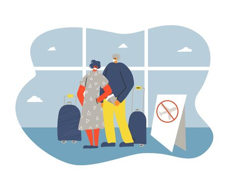 Cancel flight to prevent the spread of the coronavirus. Coronavirus pandemic notice about not to travel. Young man and woman in white medical face mask standing at airport. Friends protecting from virus infection. Quarantine. Vector flat illustration.