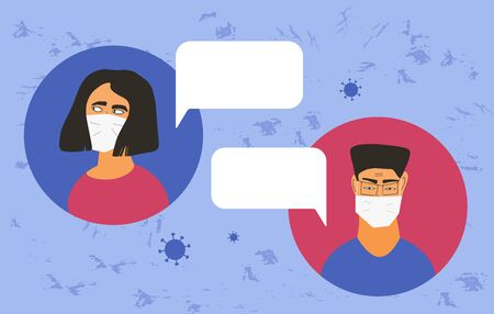 Coronavirus quarantine. Man and woman in white medical face mask icons. Friends or family members in prevention masks have a distant  tallk about medical test. 2019-nCov pandemic. Vector flat illustration. Ilustrace