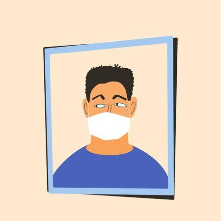 Coronavirus. Man in white medical face mask. 2019-nCoV quarantine. Pandemic of coronavirus. Vector flat illustration.