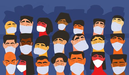 Coronavirus. Men and women in white medical face mask. Characters in prevention masks. Crowd of people protecting from virus infection. Quarantine. Pandemic of coronavirus. Vector flat illustration.