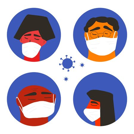 Coronavirus protection. Men and woman in white medical face mask icons. Friends or family members in prevention masks. 2019-nCoV quarantine. Pandemic of coronavirus. Vector flat illustration.