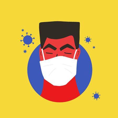 Coronavirus protection concept. Man in white medical face mask icon. Patient in prevention mask. 2019-nCoV quarantine. Pandemic of coronavirus. Vector flat illustration. Ilustrace