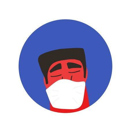 Young man in white medical face mask icon. Flu protection. Patient in prevention mask. 2019-nCoV quarantine. Pandemic of coronavirus. Vector flat illustration.