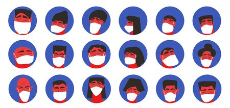 Men and women in white medical face mask icons set isolated on white background. Different characters in prevention masks. 2019-nCoV quarantine. Pandemic of coronavirus. Vector flat illustration.